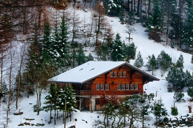 Chalet on a mountain surrounded by trees and snow